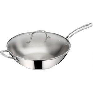 Lagostina EVELIA Poêle wok 32 cm inox + couvercle