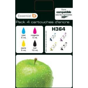 EssentielB MultiPack H364 - 4 Cartouches d'encre noire et couleurs compatibles HP 364
