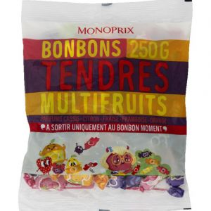 Monoprix Bonbons tendres multifruits, parfums cassis, citron, fraise, framboise et orange - Le paquet de 250g