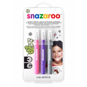 Snazaroo 3 Stylos pinceaux maquillage fantaisie rose, violet et argent