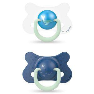 Image de Suavinex Sucette silicone anatomique 4/18 mois Night and Day - Baleine Bleue