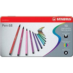 Stabilo Boîte métal de 10 feutres de dessin Pen 68 pointe ogive fine