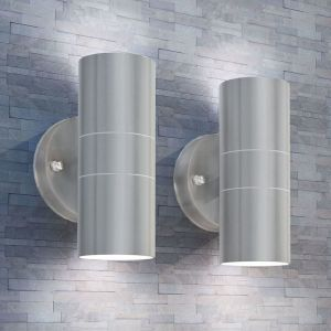 VidaXL Applique murale LED d'extérieur 2 pcs Inox vers le bas/haut
