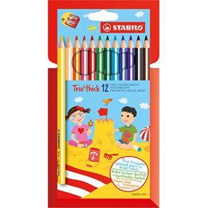 Stabilo Crayon de coloriage Trio - Étui carton de 12 crayons de couleur triangulaires + taille-crayon