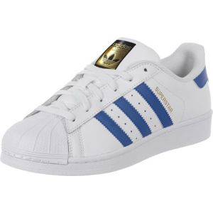 Adidas Superstar, Baskets Basses Garçon, Blanc (FTWR White/EQT Blue S16/Eqt Blue S16), 38 2/3 EU