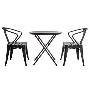 Miliboo Salon de jardin avec table pliable et 2 chaises empilables bois et métal BERLINER