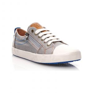 Geox J Alonisso D, Baskets Basses Garçon, Gris (Grey/Lt Blue), 32 EU