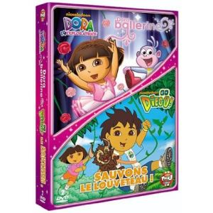 Coffret Dora l'exploratrice : Dora ballerine + Go Diego ! - Volume 1 : Sauvons le louveteau !