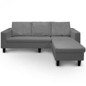Menzzo Canapé d'angle Malaga en simili cuir