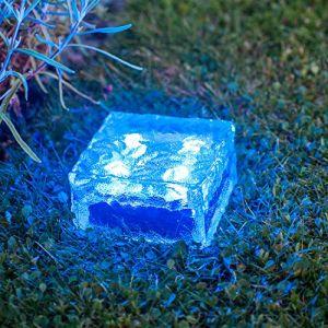 Lights4Fun Lot de 3 Grands Pavés Lumineux Solaires en Verre Gravé aux LED Bleues de