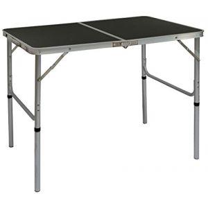 Amanka Table de Camping Portable 3kg Pliante en Mallette pour Pique-Nique Plage Jardin 90x60cm réglable en Hauteur en Aluminium Gris Foncé