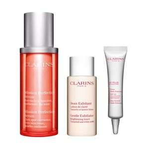 Clarins Coffret Sérum Mission Perfection, Doux Exfoliant et écran Multi-Protection SPF50