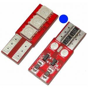 Aerzetix 2x ampoule T10 W5W 12V 3LED SMD bleu veilleuses éclairage intérieur seuils de porte plafonnier pieds lecteur de carte coffre compartiment moteur