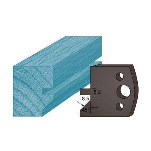 Diamwood Platinum Jeu de 2 contre-fers profilés Ht. 38 x 4 mm rainure et chanfrein A84 pour porte-outils de toupie