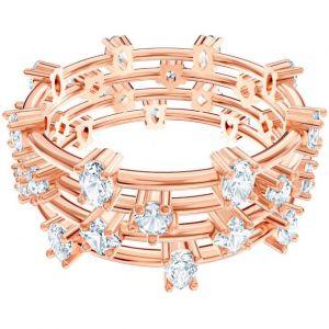 Swarovski Bague MOONSOON-RING-STONES-Bague Glam 3 Anneaux Doré Rose Femme