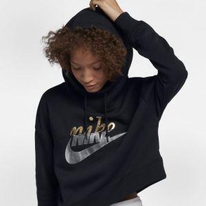 Nike Sweat à capuche métallisé Sportswear Rally pour Femme - Noir - Taille L