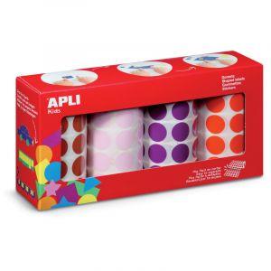 Agipa Gommettes rondes - diamètre 33mm - bleu, rouge, jaune, vert - lot de 4 rouleaux