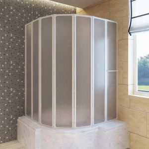 VidaXL Pare baignoire à 7 volets avec porte-serviettes 140 x 168 cm