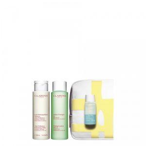 Clarins Démaquillage Parfait - Coffret 3 produits peaux mixtes ou grasses et trousse