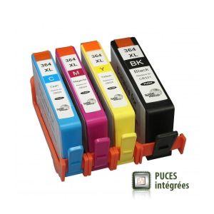 Pack HP 364XL - Cartouches d'encre compatibles J3M83AE#301 de qualité Premium avec puces intégrées.