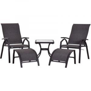 Outsunny Ensemble salon de jardin 5 pièces : 2 chaises longues inclinables, 2 repose-pied amovibles + table basse métal époxy textilène noir