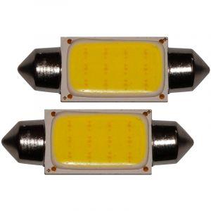 Aerzetix : 2x ampoule C5W 12V LED COB HIGH POWER 1.5W 39mm navette éclairage intérieur plaque d'immatriculation seuils de porte plafonnier pieds lecteur de carte coffre compartiment moteur
