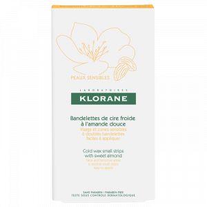 Klorane Bandelettes de cire froide - A l'amande douce - Visage & zones sensibles, 6 doubles bandelettes