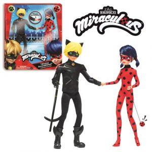 Bandai Poupées Miraculous Ladybug et Chat Noir 26 cm