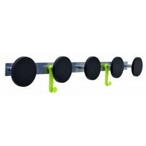 Alba 5 patères plastiques Noir + 2 Crochets - Diamétre 9cm