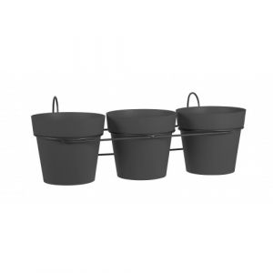 Eda Plastiques Lot 3 pots anthracite + support - 1,6 litres - Toscane 11461