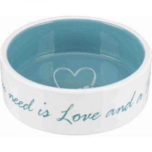 Trixie Écuelle céramique Pet's Home - 0,3 L - Ø 12 cm - Crème et bleu clair - Pour chien