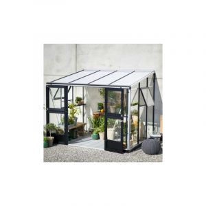 Juliana Serre adossée Véranda en verre trempé 6.6 m², Couleur Silver, Base Avec base
