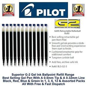 Pilot 12 recharges pour stylo à bille encre gel G2 pointe fine