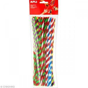 APLI Sachet 50 chenilles bicolores - Couleurs assorties - 30 cm