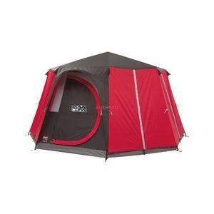 Coleman Tente familiale forme octogonale 8 personnes - 2 portes et 7 fenêtres - Imperméable et idéale pour un festival ou camping de luxe, Mixte, 2000032323, rouge/gris, 429x429x225 cm