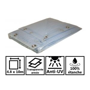 Toile de toit pour tonnelle et pergola 400g/m² transparente 4,8x10 m en PVC