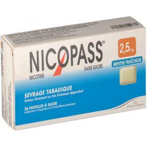 Pierre Fabre Nicopass Menthe fraicheur s/s 2,5 mg - 36 Pastilles