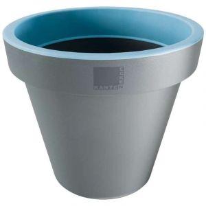 Provence Outillage Pot de fleurs rond Bleu / Gris Diamètre : 30 cm Hauteur : 26 cm - ECKEN KANTEN