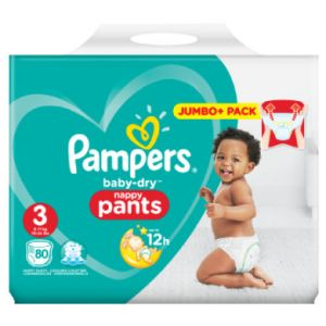 Pampers Couches Baby Dry T. 3 midi pack Jumbo plus 6-11 kg 80 pièces