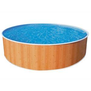 Abak C0746-3 - Piscine Splasher ronde hors sol en métal aspect bois Ø 460 x 90 cm