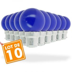 Eclairage design Lot de 10 Ampoules Led Bleu 1 watt (équivalent à 10 watt) Guirlande Guinguette