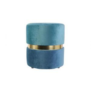 Tabouret Velours Bicolore Bleu ISAURE