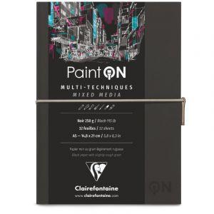 Clairefontaine Carnet cousu Paint'On, 250g/m², Noir, A5, 14,8 cm x 21 cm