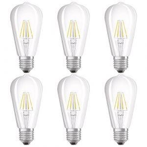 Osram Ampoule LED Filament, Forme Edison, Culot E27, 4W Equivalent 40W, 220-240V, claire, Blanc Chaud 2700K, Lot de 6 pièces