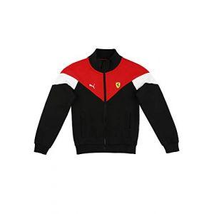 Puma Blouson de survêtement Scuderia Ferrari Race MCS Youth pour Enfant, Noir/Rouge, Taille 116, Vêtements