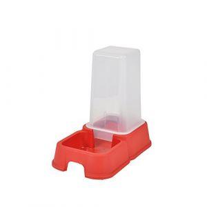 Distributeur d'eau + croquettes - 1,5 l - 26x17x24 cm - Rouge - Pour chat - En plastique - Contenance : 1,5 l - Dimensions : 26x17x24 cm - Coloris : rouge - Pour chat.