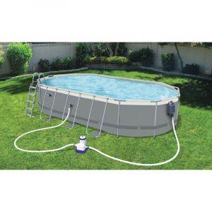 Bestway Kit piscine ovale Power Steel 6.10m x 3.66m x 1.22m Livré avec bâche, échelle et pompe de filtration à cartouche