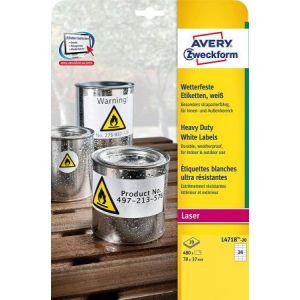 Avery-Zweckform L4718-20 - 480 étiquettes ultra-résistantes Laser blanc, format 70 x 37 mm (20 feuilles / cdt)