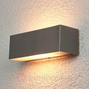 Lampenwelt Applique rectangulaire Alicja pour l'extérieur, Inox/Blanc satiné