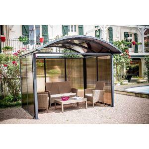 Abri de Jardin Aluminium Fermé 3 Côtés Polycarbonate Anthracite - 7.2 m²